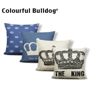 Retro Crown Cushions King And Queen Letter Pillowcases Coastal Sofa Home Decorative Throw Pillow Cover Small Linen Personalized