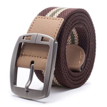 Fashion Men Pin Buckle Waistband Military Canvas Casual Leather Waist Belt For Boy