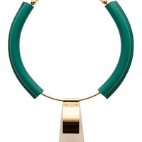 Marni Emerald Leather And Gold Metal Necklace