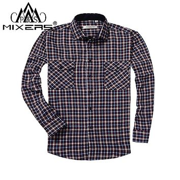 FLANNEL SHIRT Men's Pocket Plaid Long Sleeve Regular Fit