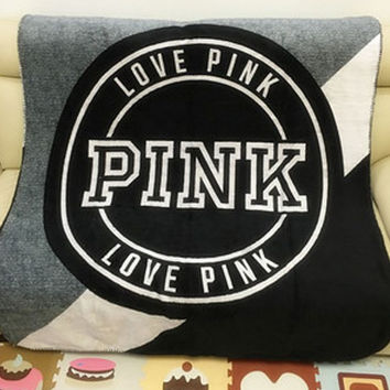 "wanelu"" Pink "" Victoria Secret VS Printed Comfortable Soft Fleece Warm Travel Blanket Sofa Cover"