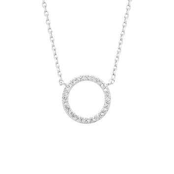 Circle CZ Necklace - Silver Plated