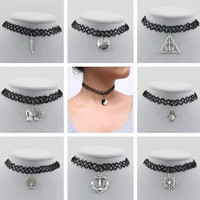 New Vintage Stretch Tattoo Choker Necklace Gothic Punk Grunge Henna Elastic with Pendant Necklaces