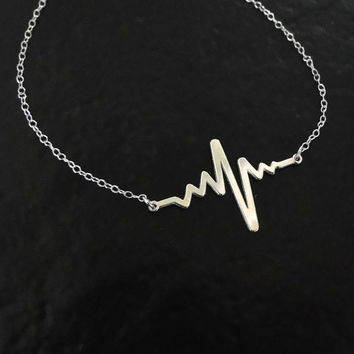 Silver Heartbeat Necklace, Sterling Silver or 10k Gold Heart Beat Pendant And Chain