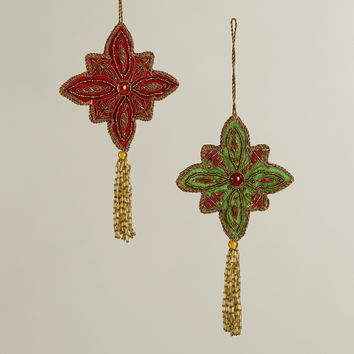 Fabric Zardozi Medallion Ornaments, Set of 2 - World Market