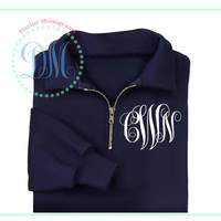 1/4 Zip Pullover with Monogram