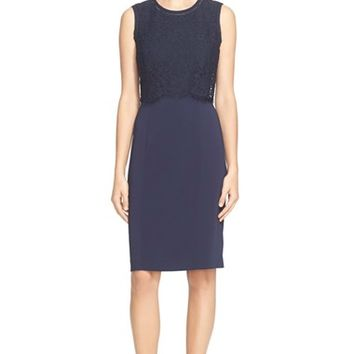 Women's Rebecca Taylor Lace Bodice Sleeveless Dress,