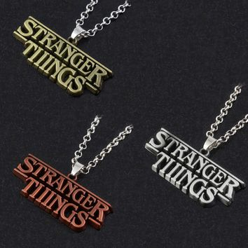 RJ New Stranger Things Letter Pendants Necklaces High Quality Antique Copper/Silver/Bronze Souvenir Men Women Keyring Gift