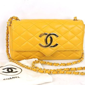 AUTHENTIC CHANEL QUILTED YELLOW LAMBSKIN LEATHER CC FLAP CHAIN SHOULDER BAG