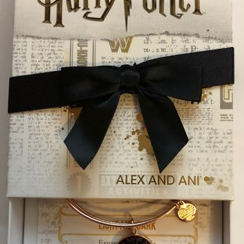 Alex and Ani Harry Potter Light and Dark Rose Gold Finish Charm Bangle New with Box