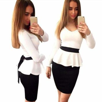 Black+White Long Sleeve Women Peplum Dress