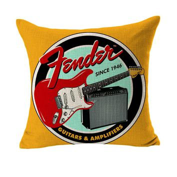Musical Instruments Guitars and Amplefiers Design Massager Pillow Decorative Vintage Pillows  Cover Home Decor Gift