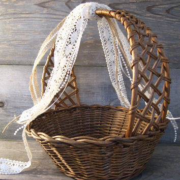 Flower Girl Basket * Rustic Vintage * Burlap Lace Pearls