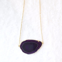 Agate Necklace, Geode Slice, Gemstone, Boho, Gold Plated Purple Horizontal Agate Slice Necklace on Gold Chain (Agate Slice Pendant)
