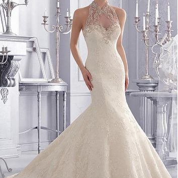 [224.99] Charming Alencon lace High Collar Neckline Natural Waistline Mermaid Wedding Dress With Embroidered Beadings - dressilyme.com
