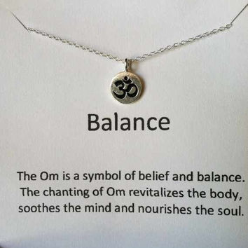 Ohm Necklace, Om Sterling Silver Necklace, Balance and Serenity, Yoga