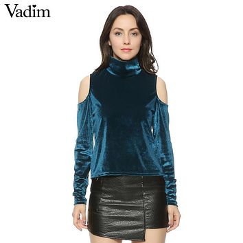 Women velvet cut out shoulder slim blouse long sleeve turtleneck shirts autumn female sexy streetwear tops blusas LT1281