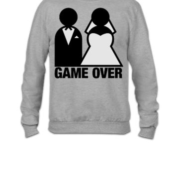 Game Over - Wedding Bride and Groom - Crewneck Sweatshirt