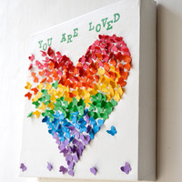 YOU ARE LOVED  3D Butterfly Art / Butterfly Rainbow by RonandNoy