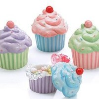 Set of 4 Cupcake Bowls Dishes with Lids Great Party or Kitchen Decor