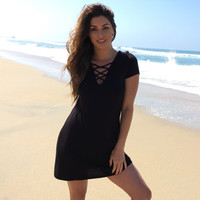 Life Is Good Jersey Dress In Black