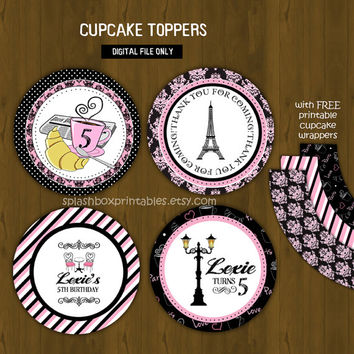 Paris Cupcake toppers with Free Cupcake Wrapper - French Cafe Party Cupcake Toppers for Birthday or Baby Shower