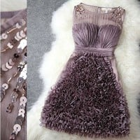 Spangle perl 3D flowers lace skirt