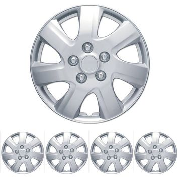 "BDK Toyota Camry Style Hubcaps Wheel Cover, 16"" Silver Replica Cover, 4 Pieces"