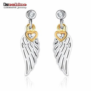 LZESHINE Angle Wing Shape Drop Earrings with Gold Color Hearts CZ Stone Inlayed 925 Sterling Silver Earrings for Women PSER0005