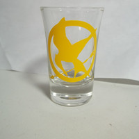 The Hunger Games Mockingkay Shot Glass by TheCraftyGeek86 on Etsy
