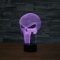 Star Trek Punisher 3D LED 7 color changing flash birthday party atmosphere decoration With a gift keychain