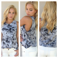 Black & Grey Tie Dye Crop Tank