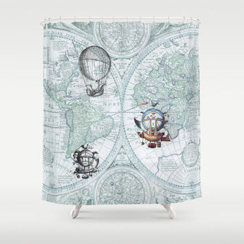Steampunk Style Shower Curtain - Airships in Flight  - Antique map in blue -Home Decor - Bathroom - maps, travel unique