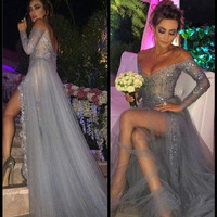 Long Sleeve Sexy Backless Off Shoulder Front Slit Prom Dresses Beads Sequined Lace Tulle Sheer Silver Party Evening Gown