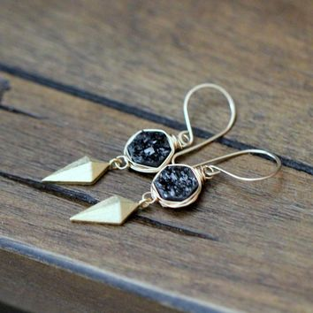 Stiletto Hexagon Earrings - Eclipse