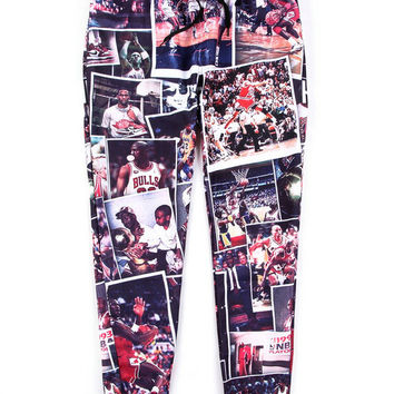 Black Emoji Michael Flyers Lore Print Hip-Hop Sweatpants