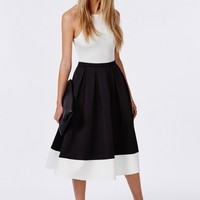 Missguided - Contrast Panel Hem Scuba Midi Skater Skirt Black
