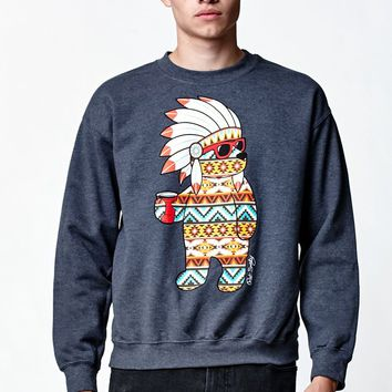 Riot Society Tribal Party Bear Crew Neck Sweatshirt - Mens Hoodie - Black