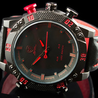 "Exotic Military Hidden LED Watch with Leather Band ""Costa"""