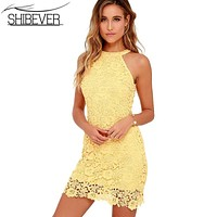 SHIBEVER Summer Women Sexy Dress Lace Halter Party Dress Sleeveless Casual Short Ladies Dress Beach Solid Female Dresses AME96