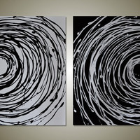Original Abstract Acrylic Painting - Black and White Canvas Diptych Art- Yin and Yang: Large 32 x 20