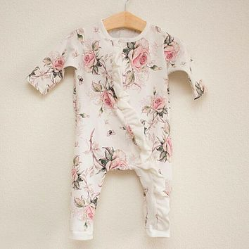 US Infant Baby Girl Clothes Long Sleeve Ruffle Romper Jumpsuit Bodysuit Outfit