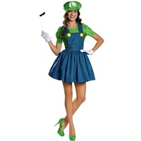 Super Mario Bros. Luigi Costume - Adult Plus (Blue/Green)