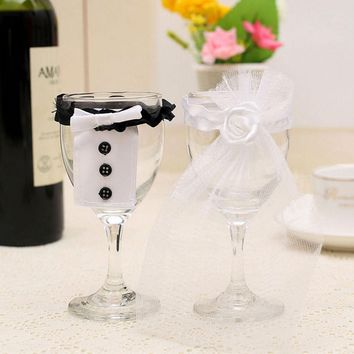 2Pcs/Set or 1Pcs Bridal Veil Bow Tie Bride & Groom Tux Bridal Veil Wedding Party Toasting Wine Glasses Decor Party Gifts Newly