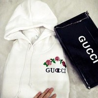 Hot GUCCI /Champion Emobridy Sweater Rose red hoodie Flower Rattan Pullover White
