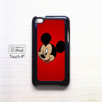 Mickey Mouse Red Background Wallpaper for Ipod 4/Ipod 5 apple case
