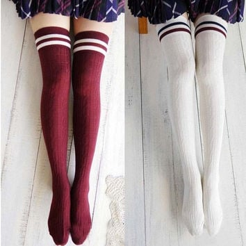 Women New Girls Cotton Knit Over Knee Thigh Stockings High Socks Hosiery Tights F_F