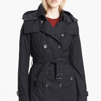 Women's Burberry Brit 'Reymoore' Trench Coat with Detachable Hood & Liner,
