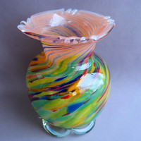 Hand Blown Art Glass Spring color  Vase by Route4glass on Etsy