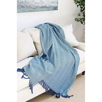 Ben and Jonah Sophia Throw Blanket With Fringe Twists (Navy/Sky)